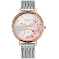 Lipsy Silver Mesh Strap Watch with Silver Floral Dial.