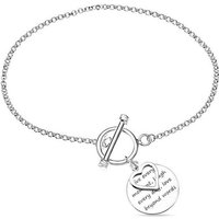Sterling Silver Message Disc and Heart Charm T-Bar Bracelet