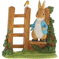 Peter Rabbit on Wooden Stile Figurine