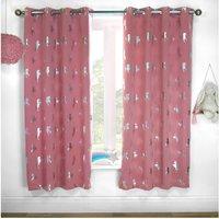 Metallic Unicorn Woven Blackout Lined Eyelet Curtains