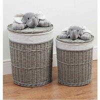 Bambino Set of 2 Round Wicker Laundry Baskets Plush Elephant.