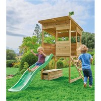 TP Toys Tree Tops Wooden Playhouse with Toy Box and Slide