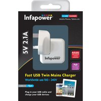 Infapower 5V 2.1A Fast USB Twin Mains Charger.