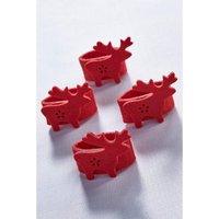 Set of 4 Red Reindeer Napkin Rings