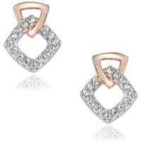 Sterling Silver Two Tone Plated CZ Earrings