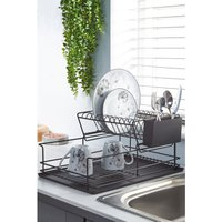 Matt Black 2-Tier Steel Dish Drainer