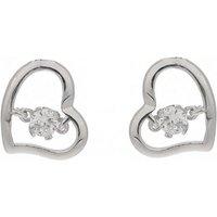 Espree Sterling Silver Open Heart CZ Stud Earrings