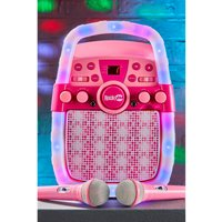 Rockjam CD and Bluetooth Karaoke Machine with Two Microphones, Echo Control and LED Light Show.