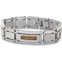 Stainless Steel Two Tone Rope Detail Link Bracelet