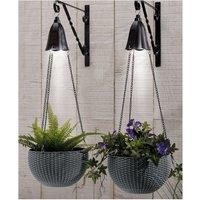 Pair of Rattan Effect Solar Hanging Baskets