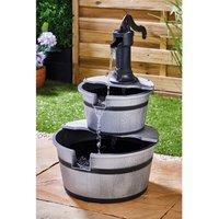 Solar Two Tier Grey Barrel Water Fountain
