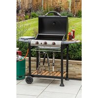 George Foreman 3 Burner Gas BBQ with Wood Effect Shelves