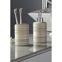 Pack of 2 Grey Embossed Bathroom Set.