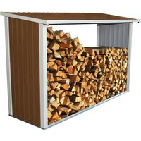 Charles Bentley Metal Log Wood Store Shed - 8x3ft