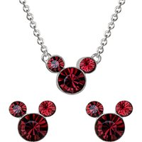 Disney Mickey Mouse January Birthstone Earring and Necklace Gift Set.