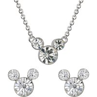 Disney Mickey Mouse April Birthstone Earring and Necklace Gift Set.