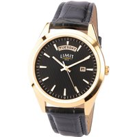 Limit Mens Gold Plated Black Strap Watch.