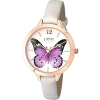Limit Ladies Gold Plated Leather Strap Watch.