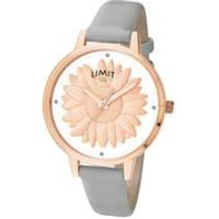 Limit Ladies Rose Gold Plated Leather Strap Watch.