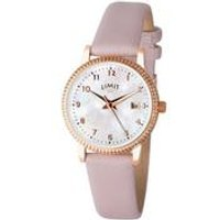 Limit Ladies Rose Gold Plated Pearl Face Leather Strap Watch.