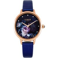 Lipsy Navy PU Strap Watch with Navy Floral Printed Dial.