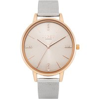 Lipsy Rose Gold Case Watch with Silver Mesh Strap and Grey Sunray Dial.