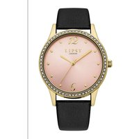 Lipsy Black Strap Watch with Pale Pink Dial.