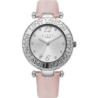 Lipsy Pink Strap Watch with Silver Sunray Dial.