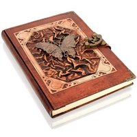 Woodland Leathers Journal Butterfly Motif Genuine Leather