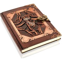 Woodland Leathers Journal Tall Cat Motif Genuine Leather