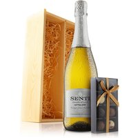 Virgin Wines Prosecco and Chocolates in Wooden Gift Box.