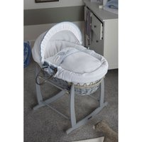 Over The Moon Grey Wicker Moses Basket