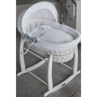 Over The Moon White Wicker Moses Basket