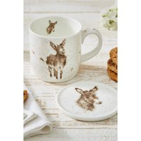 Royal Worcester Wrendale Gentle Jack Donkey Design Mug and Coaster Set.