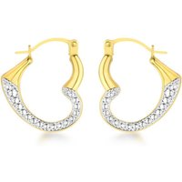 9ct Yellow Gold Two-Tone Textured Heart Creole Earrings