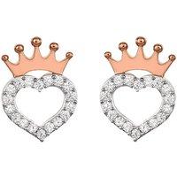 Disney Princess Sterling Silver CZ Heart Crown Stud Earrings