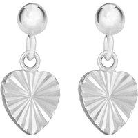 Sterling Silver Diamond Cut Heart Drop Earrings