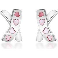Sterling Silver Pink Mother of Pearl Heart Kiss Stud Earrings