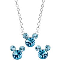 Disney Mickey Mouse March Birthstone Earring and Necklace Gift Set.