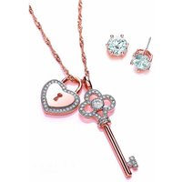 Buckley London Rose Gold Key and Lock Jewellery Set