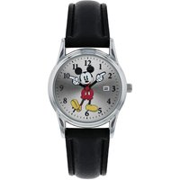 Disney Mickey Mouse Black PU Strap Watch with Moving Hands.