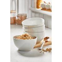 Set of 4 White Porcelain Cereal Bowls