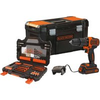 Black and Decker 18v Hammer Drill with 104-Piece Accessory Set.