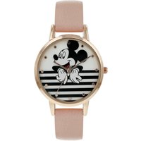 Disney Ladies Mickey Mouse Pink Leather Strap Watch.