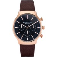 Kenneth Cole Brown Leather Strap Watch with Black Dial and Rose G...