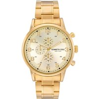 Mens Kenneth Cole Gold Metal Bracelet Watch with Gold Dial and Ha...