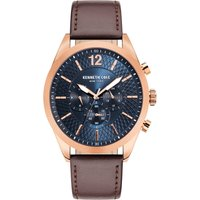 Kenneth Cole Brown Leather Strap Watch with Blue Dial and Rose Go...