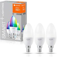 Pack of 3 Ledvance Smart Plus Wi-Fi Candle 40W RGBW Frosted E14 Bulbs.