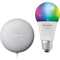 Google Nest Mini and Ledvance Smart Plus Bluetooth E27 RGBW Bulb Bundle.