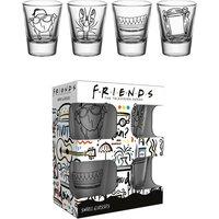 Set of 4 Friends Doodle Shot Glasses.